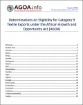 Category 9 Determinations on eligibility for textile exports under AGOA - all countries
