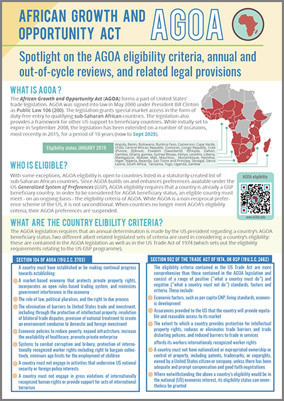 AGOA legal, eligibility and review provisions
