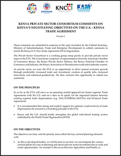 Kenya private sector consortium comments on the FTA objectives