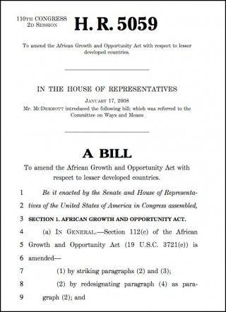 House of Representatives Bill HR 5095 to include Mauritius under the AGOA fabric waiver programme