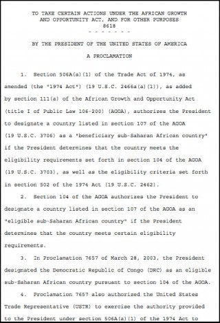 Presidential Proclamation ceasing the Congo-DRC's eligibility for AGOA preferences