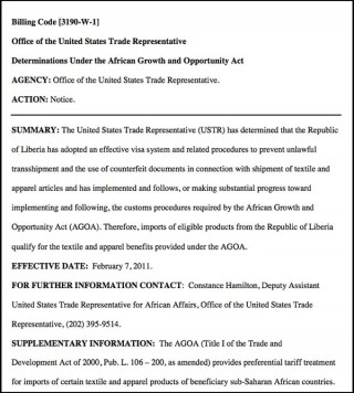 USTR text: Liberia qualifies for textile preferences under AGOA 2011