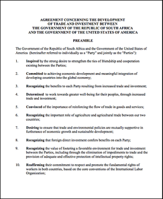 South Africa - United States (TIFA) Agreement