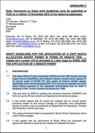 DRAFT guidelines for for the application of a DAFF quota allocation import permit