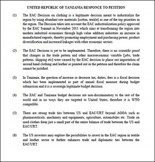 Tanzania response to petition OOCR