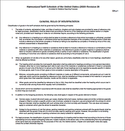 DOWNLOAD: General notes to the US tariff schedule