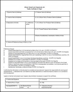 2000 AGOA Textile Certificate of Origin (EXPIRED)