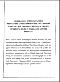 Memorandum of Understanding China - US relating to textiles quotas