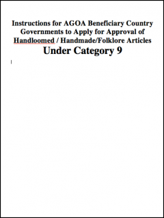 Category 9 Textiles - Guide for eligible governments to the application for traditional fabrics to be included under AGOA