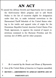 Senate Bill S. 3326 to extend AGOA fabric provisions to 2015 (as passed)