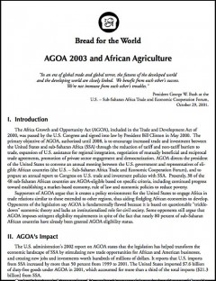 Bread for the World: AGOA 2003 and African agriculture