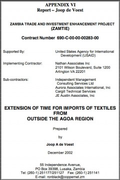 Extension of third country textile waiver - a 2002 report