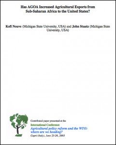 Has AGOA increased agricultural exports from Sub-Saharan Africa to the United States? 2003