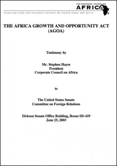 2003 Testimony on AGOA by the Corporate Council on Africa