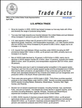 AGOA Trade Facts - April 2006 - Agoa info - African Growth and