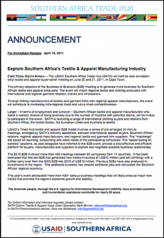 SATH Announcement - Textile Buyer-Seller meeting 20 June 2011
