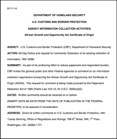 Review of AGOA certificate of origin - request for comments 2013