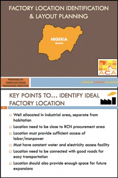 Cashew Production: Factory location and layout planning
