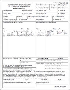 US Customs (CBP) Form 7501 for US Imports