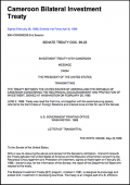 Cameroon - United States Bilateral Investment Treaty (BIT)