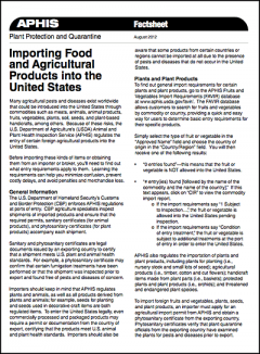 APHIS Factsheet on importing food and agricultural products into the United States