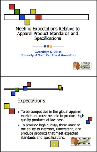Meeting expectations relative to apparel product standards and specifications