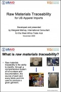 Raw materials traceability for US apparel imports - 2005