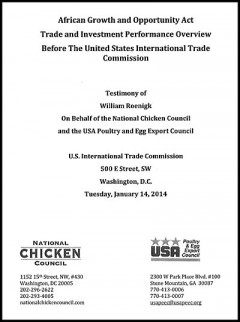 Chicken Council and Poultry Exporters Association - AGOA 2014 hearings - testimony
