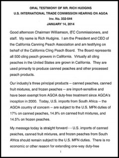 California Canning Peach Association - AGOA 2014 hearings - testimony