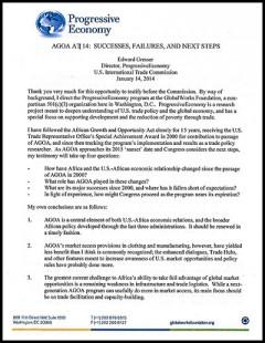 Progressive Economy - AGOA 2014 hearings - testimony