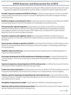 AGOA Extension and Enhancement Act 2015 - Summary