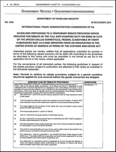 South Africa Government gazette - tariff rebate on US chicken imports